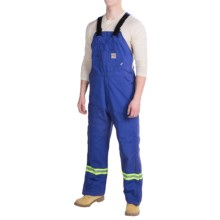 Carhartt Flame-Resistant Striped Duck Bib Overalls - Insulated (For Men) in Royal - 2nds