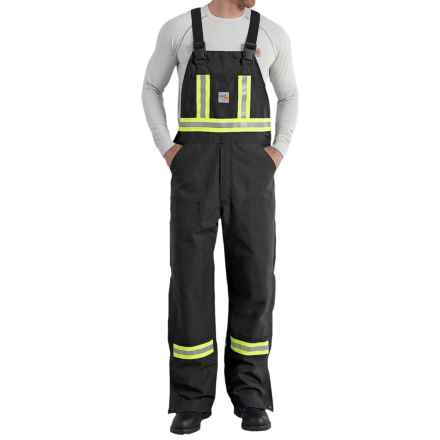 Carhartt Flame-Resistant Striped Duck Bib Overalls - Unlined (For Men) in Black - 2nds