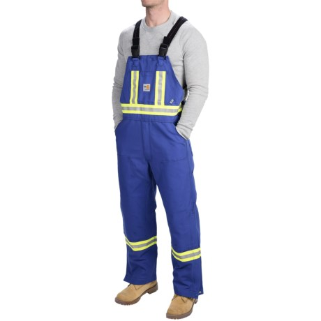 Carhartt Flame-Resistant Striped Duck Bib Overalls - Unlined (For Men) in Royal
