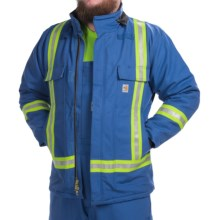Carhartt Flame-Resistant Striped Duck Traditional Coat - Insulated (For Big and Tall Men) in Royal - 2nds
