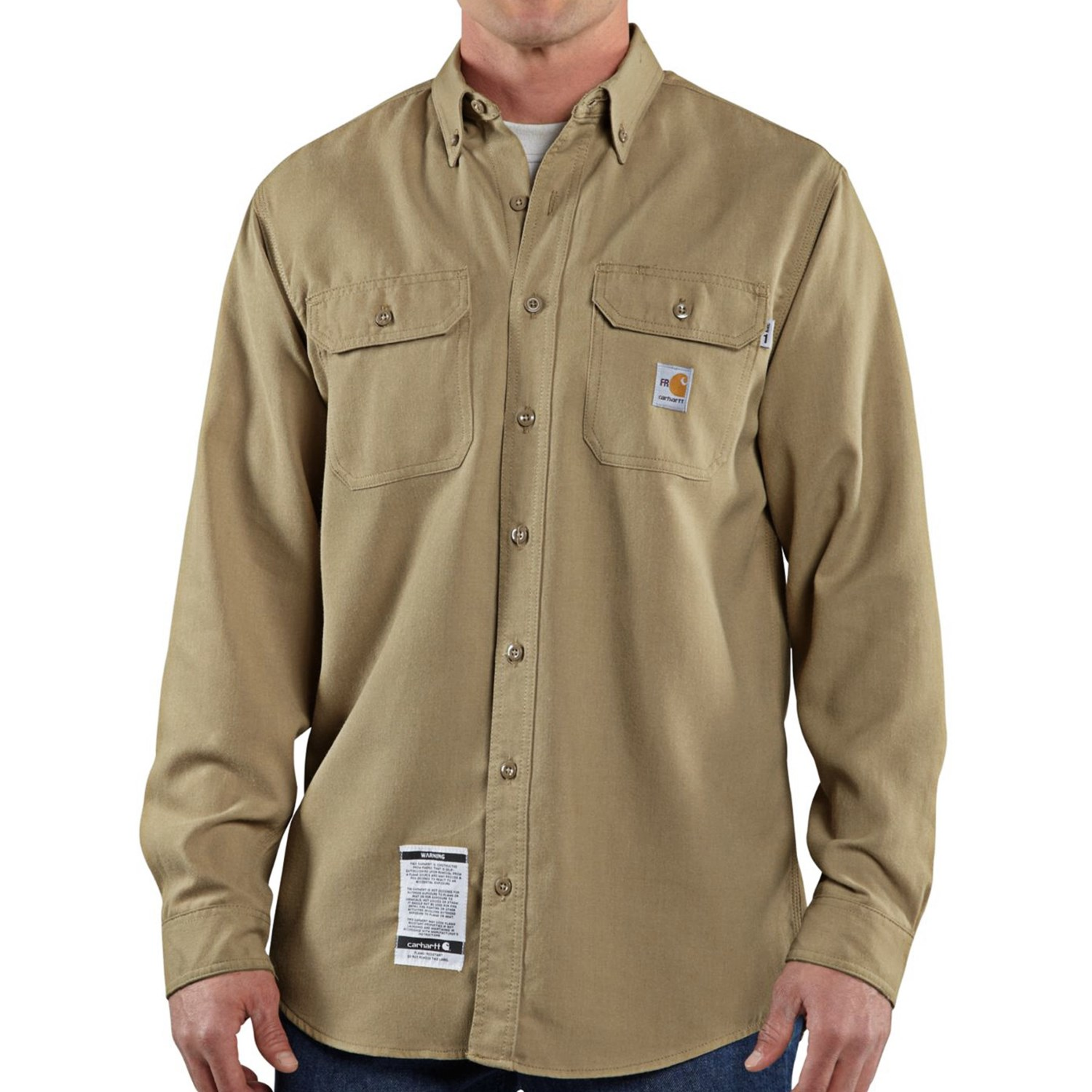 Carhartt flame resistant work shirt long sleeve for for Tall mens work shirts