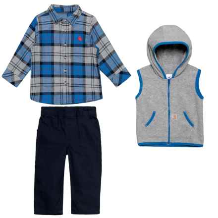Carhartt Flannel Shirt, Hoodie Vest and Pants Set - Long Sleeve (For Infant Boys) in Navy - Closeouts