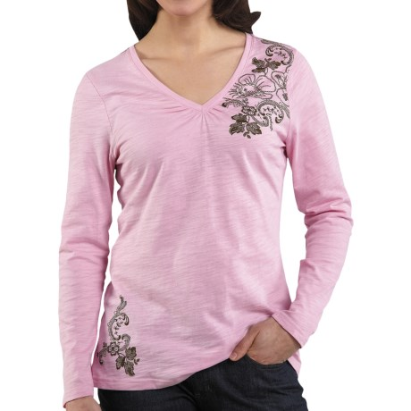 Carhartt Floral Graphic T-Shirt - V-Neck, Long Sleeve (For Women) in Faded Petal