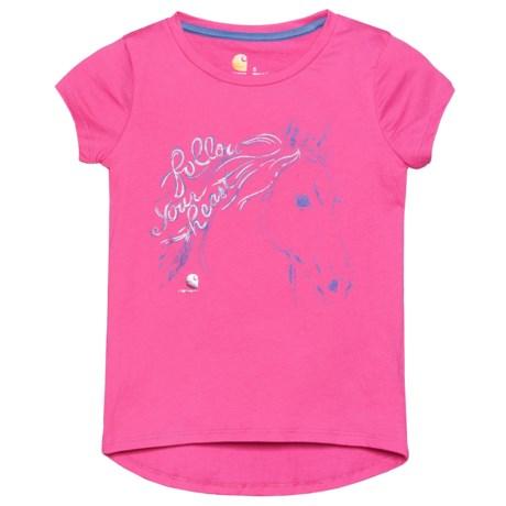 Carhartt Follow Your Heart T-Shirt - Short Sleeve (For Little Girls) in Raspberry