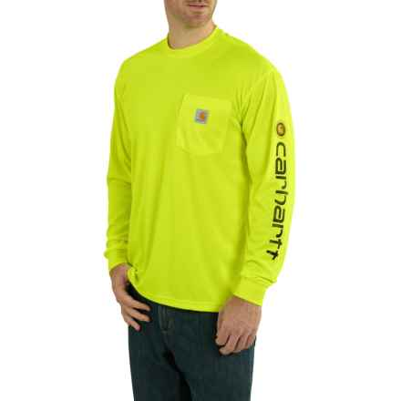 Carhartt Force Color-Enhanced Pocket T-Shirt - Long Sleeve (For Big and Tall Men) in Brite Lime - Closeouts