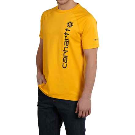 Carhartt Force® Cotton Delmont Graphic T-Shirt - Short Sleeve, Factory 2nds (For Big and Tall Men) in Mustard Yellow - 2nds