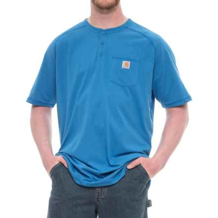 Carhartt Force® Delmont Pocket Henley Shirt - Short Sleeve (For Big and Tall Men) in Cool Blue - Closeouts