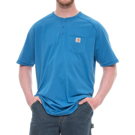 Carhartt Force® Delmont Pocket Henley Shirt - Short Sleeve (For Big and Tall Men) in Cool Blue