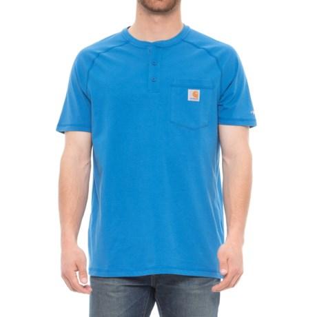 Carhartt Force® Delmont Pocket Henley Shirt - Short Sleeve (For Men) in Cool Blue