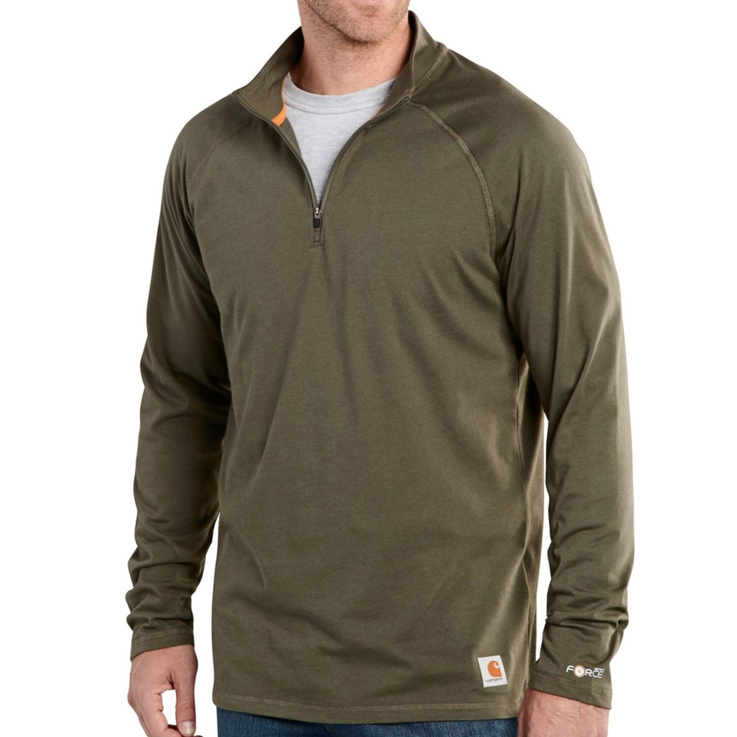 carhartt force delmont shirt zip neck long sleeve for