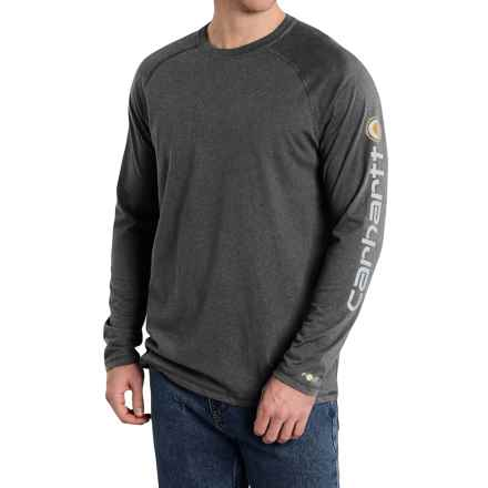 Carhartt Force Delmont T-Shirt - Long Sleeve (For Big and Tall Men) in Carbon Heather - 2nds