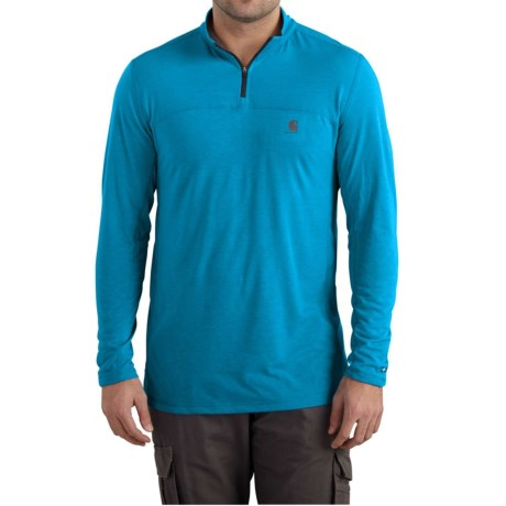 Carhartt Force Extremes Shirt - Zip Neck, Long Sleeve, Factory Seconds (For Big and Tall Men) in Dynamic Blue