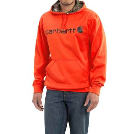 Carhartt Force Extremes Signature Graphic Hooded Sweatshirt (For Big and Tall Men) in Energetic Orange - 2nds