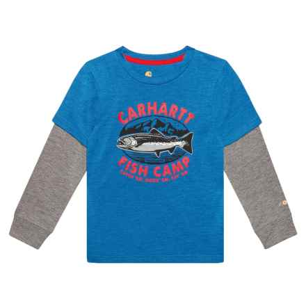 Carhartt Force® Fish Camp T-Shirt - Crew Neck, Long Sleeve (For Little Boys) in Blue - Closeouts