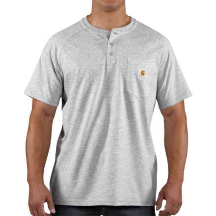 Carhartt Force Henley Shirt - Short Sleeve (For Men) in Heather Grey - 2nds