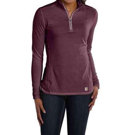 Carhartt Force High-Performance Shirt - Zip Neck, Long Sleeve, Factory Seconds (For Women) in Potent Purple Heather - 2nds