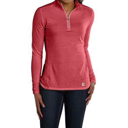 Carhartt Force High-Performance Shirt - Zip Neck, Long Sleeve, Factory Seconds (For Women) in Wild Rose Heather - 2nds