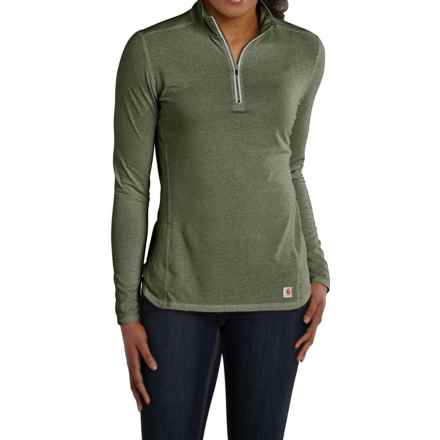 Carhartt Force High-Performance Shirt - Zip Neck, Long Sleeve (For Women) in Grape Leaf Heather - 2nds