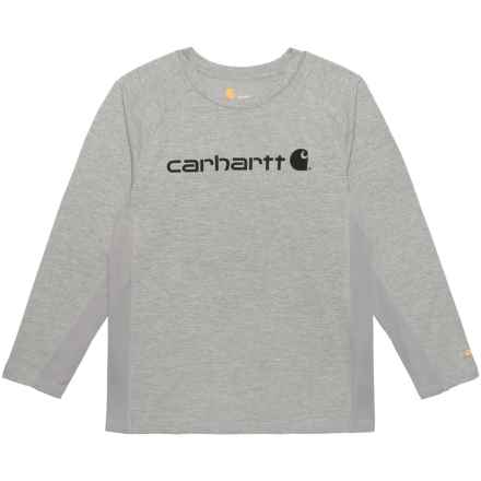 Carhartt Force® Logo T-Shirt - Long Sleeve (For Big Boys) in Grey Heather - Closeouts
