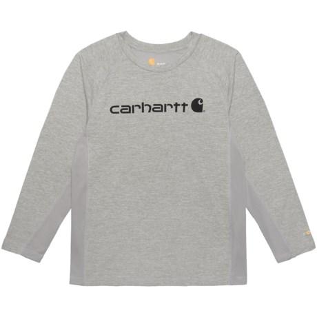 Carhartt Force® Logo T-Shirt - Long Sleeve (For Big Boys) in Grey Heather