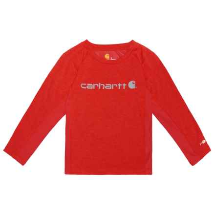 Carhartt Force Logo T-Shirt - Long Sleeve (For Little Boys) in Fiery Red Heather - Closeouts