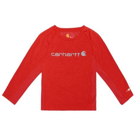 Carhartt Force Logo T-Shirt - Long Sleeve (For Little Boys) in Fiery Red Heather