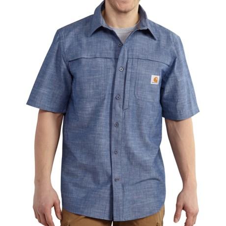 Men 39 s carhartt lightweight chambray shirt cotton short for Carhartt men s long sleeve lightweight cotton shirt