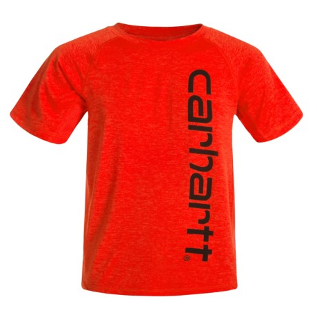 Carhartt Force® Pieced Raglan T-Shirt - Short Sleeve (For Big Boys) in Fiery Red Heather