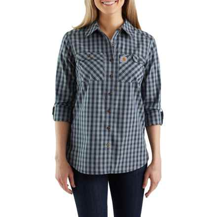 67858b5bf92 Carhartt Force® Ridgefield Plaid Shirt - Long Sleeve (For Women) in Dark  Indigo