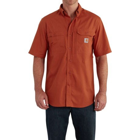 Carhartt Force® Ridgefield Shirt - Short Sleeve (For Big and Tall Men) in Spice