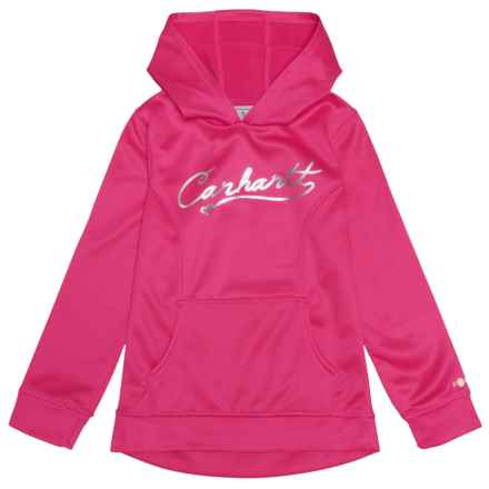 Carhartt Force® Script Logo Hoodie (For Big Girls) in Bright Pink - Closeouts