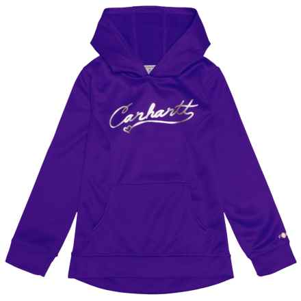 Carhartt Force® Script Logo Hoodie (For Big Girls) in Dark Purple - Closeouts
