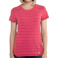 Carhartt Force T-Shirt - Short Sleeve (For Women) in Geranium Coral Heather Stripe - 2nds