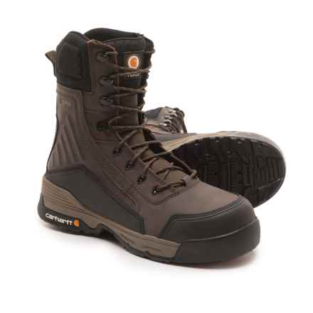 "Carhartt Force Work Boots - Waterproof, Composite Safety Toe, 8"" (For Men) in Dark Brown - Closeouts"