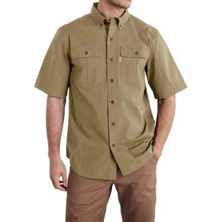 Carhartt Foreman Solid Work Shirt - Short Sleeve (For Big and Tall Men) in Dark Khaki - Closeouts