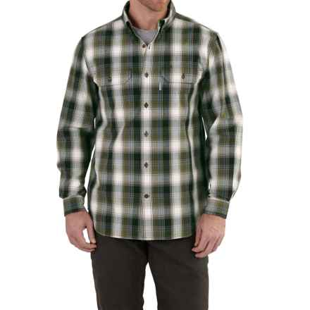 Carhartt Fort Chambray Plaid Shirt - Long Sleeve, Factory Seconds (For Tall Men) in Army Green - 2nds