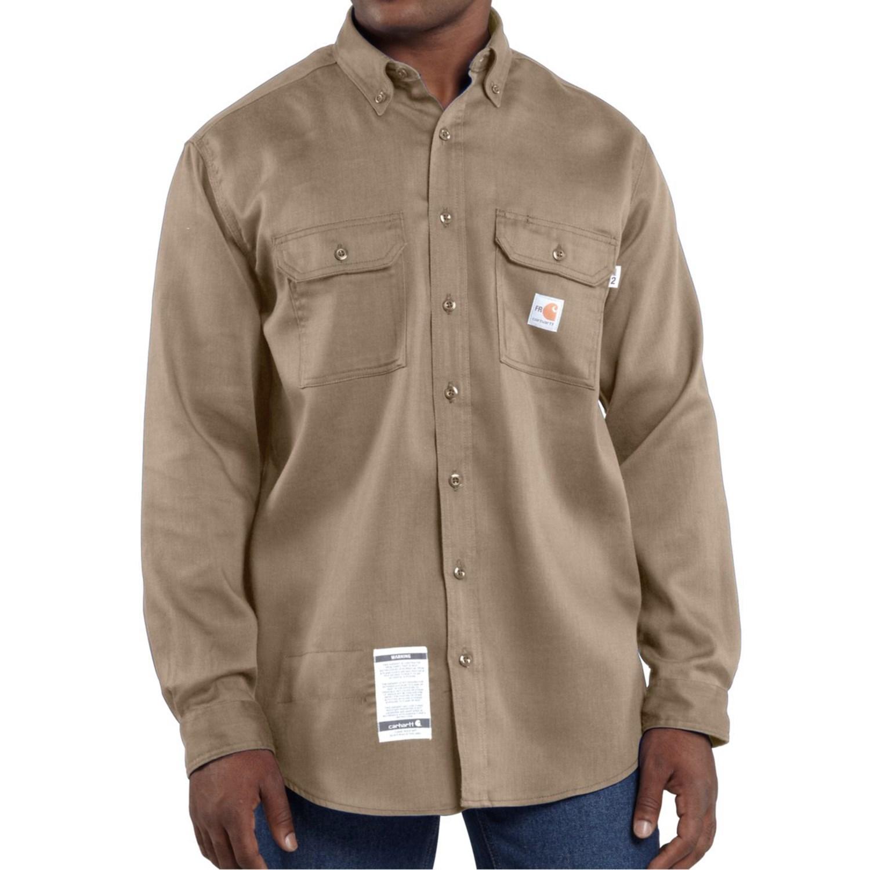 Carhartt fr flame resistant lightweight twill shirt for men for Carhartt men s long sleeve lightweight cotton shirt
