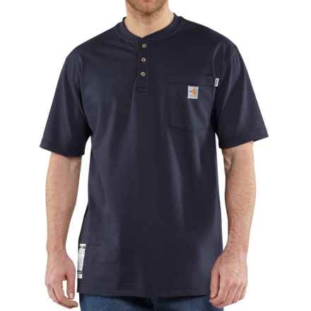 Carhartt FR Force® Cotton Henley Shirt - Short Sleeve (For Men) in Dark Navy - Closeouts
