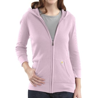 Carhartt Full-Zip Hoodie Sweatshirt - 3/4 Sleeve (For Women) in Light Orchid