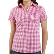 Carhartt Gingham Shirt - Stretch Cotton, Short Sleeve (For Women) in Watermelon - 2nds