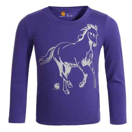 Carhartt Glitter Horse T-Shirt - Long Sleeve (For Toddler Girls) in Dark Purple - Closeouts