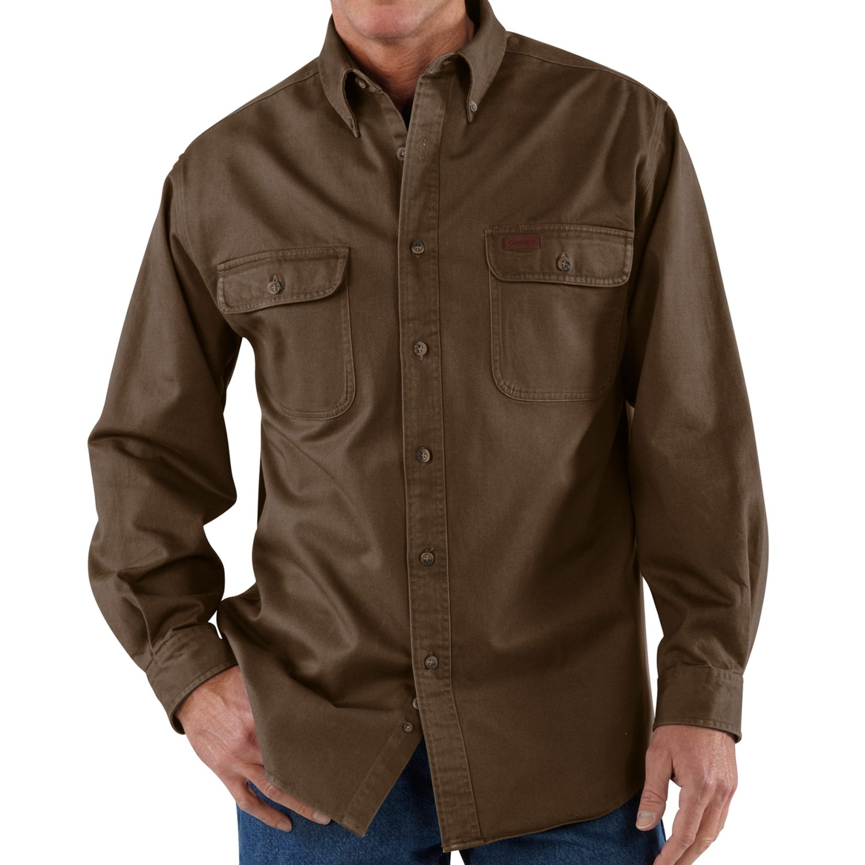 Carhartt heavyweight cotton shirt long sleeve for men for Carhartt men s long sleeve lightweight cotton shirt
