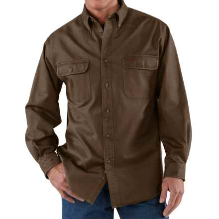 Carhartt Heavyweight Cotton Shirt - Long Sleeve (For Tall Men) in Dark Brown - 2nds
