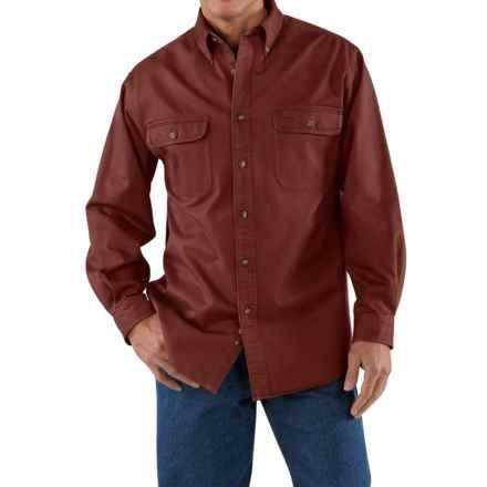 Carhartt Heavyweight Cotton Shirt - Long Sleeve (For Tall Men) in Dark Cedar - 2nds