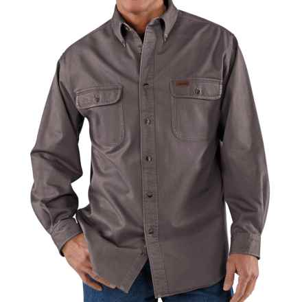 Carhartt Heavyweight Cotton Shirt - Long Sleeve (For Tall Men) in Gravel - 2nds