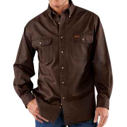 Carhartt Heavyweight Sandstone Twill Shirt (For Big Men) in Dark Brown - 2nds