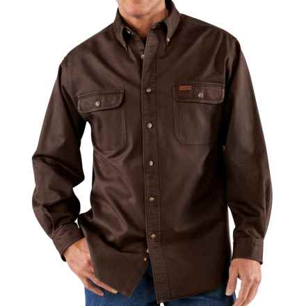 Carhartt Heavyweight Twill Shirt - Long Sleeve, Factory Seconds (For Big Men) in Dark Brown - 2nds