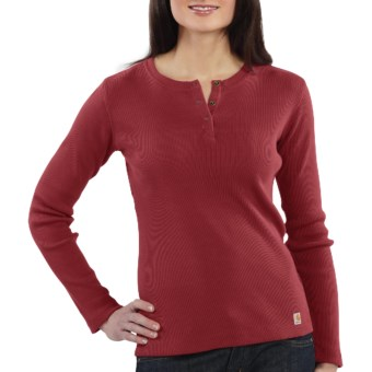 Carhartt Henley Shirt - Long Sleeve (For Women) in Berry
