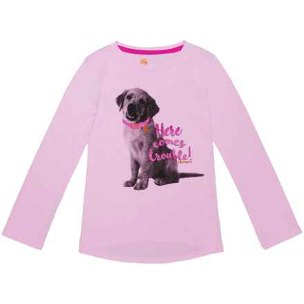 Carhartt Here Comes Trouble Puppy T-Shirt - Long Sleeve (For Little Girls) in Light Pink - Closeouts