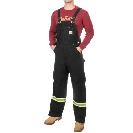 Carhartt High-Visibility Striped Duck Lined Bib Overalls (For Men)